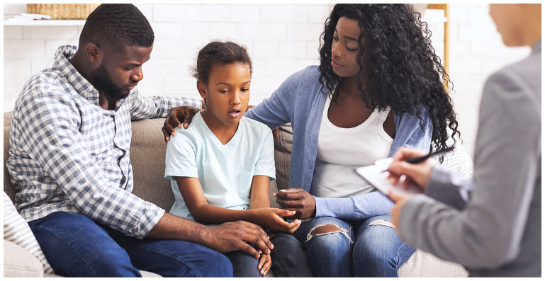 a family having a counseling